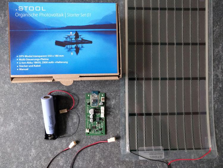 .STOOL Starter Set, organische Photovoltaik, Ladesteuerung